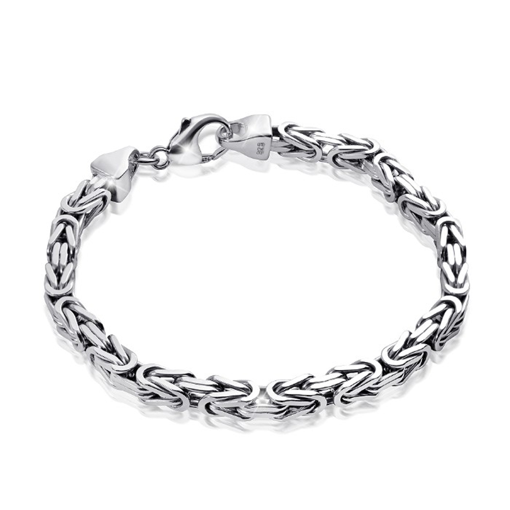 MATERIA Königskette 925 Silber Herren Armband 3mm rhodiniert