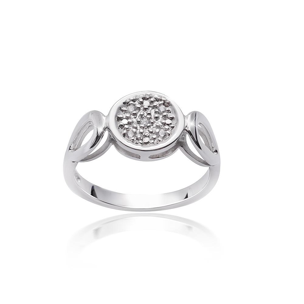 MATERIA Damen Ring Solitär 925 rund Silber Zirkonia weiß