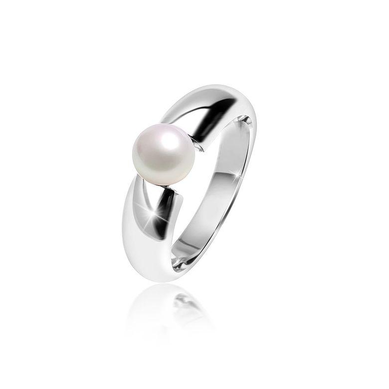 MATERIA Damen Ring Solitär 925 Silber mit Perle weiß rhodiniert inklusive Ringbox #SR-98