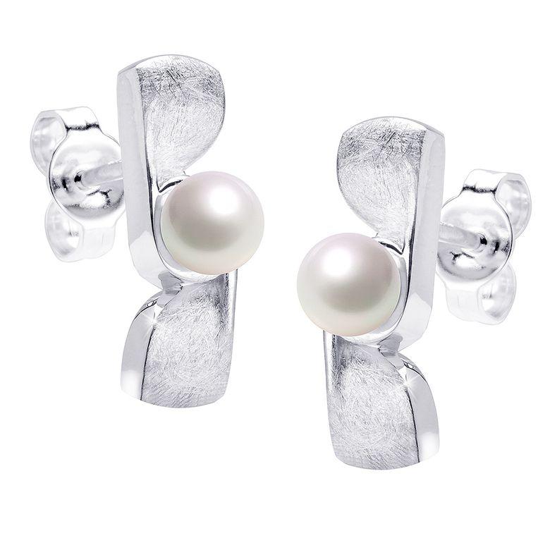 MATERIA Damen Perlen Ohrstecker Schleife 925 Silber weiß mattiert rhodiniert deutsche Fertigung #SO-315