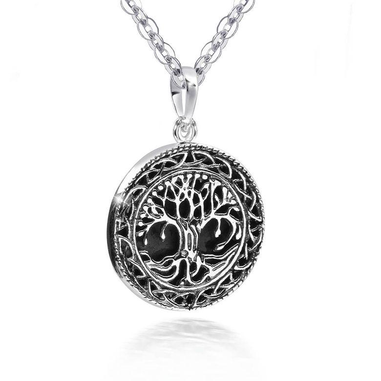 MATERIA Damen Anhänger Lebensbaum Onyx Naturstein Silber 925 schwarz rund Ø25mm + Schmuckbox #KA-369