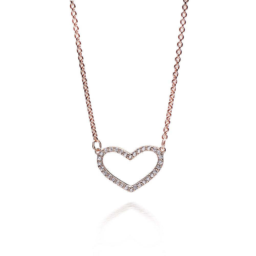 MATERIA Rosegold Herz Halskette 925 Silber mit Zirkonia 42-47cm