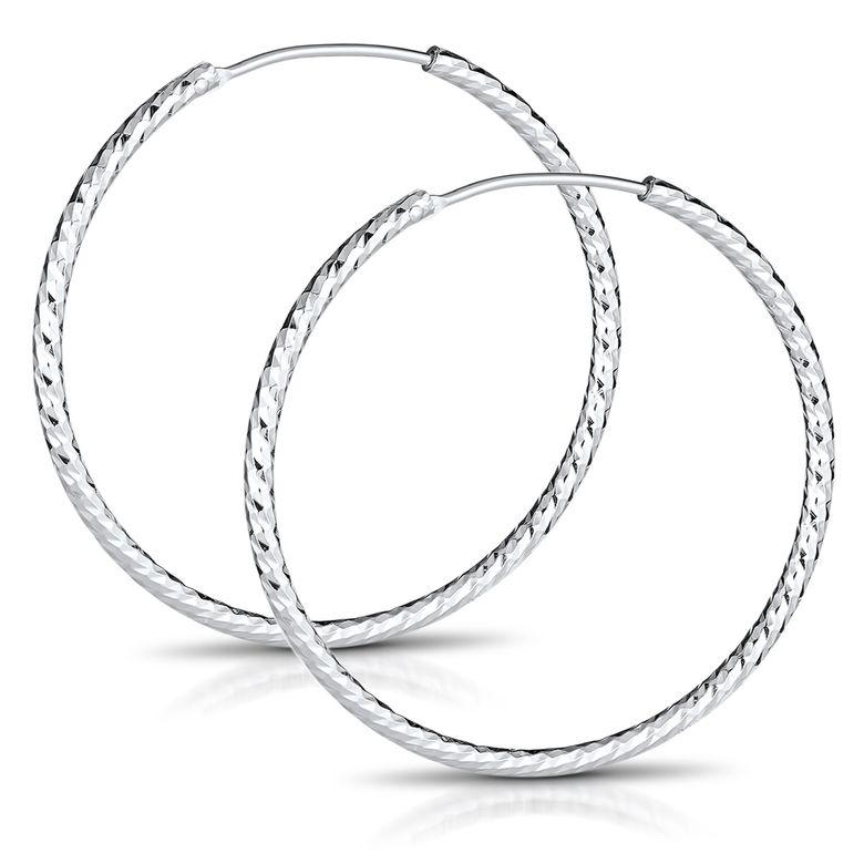 MATERIA Glitzer Klappcreolen Creolen Ohrringe groß 60mm - 925 Silber Schmuck Damen diamantiert rhodiniert SO-322