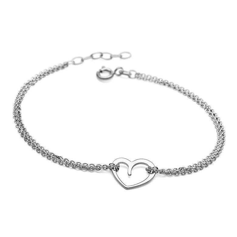 MATERIA Damen Armband Herz 925 Silber Ankerkette rhodiniert 17-19cm längenverstellbar + Box #SA-51