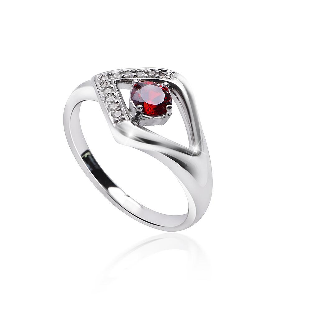 MATERIA  Damen Ring 925 Silber mit Zirkonia granatrot weiß rhodiniert