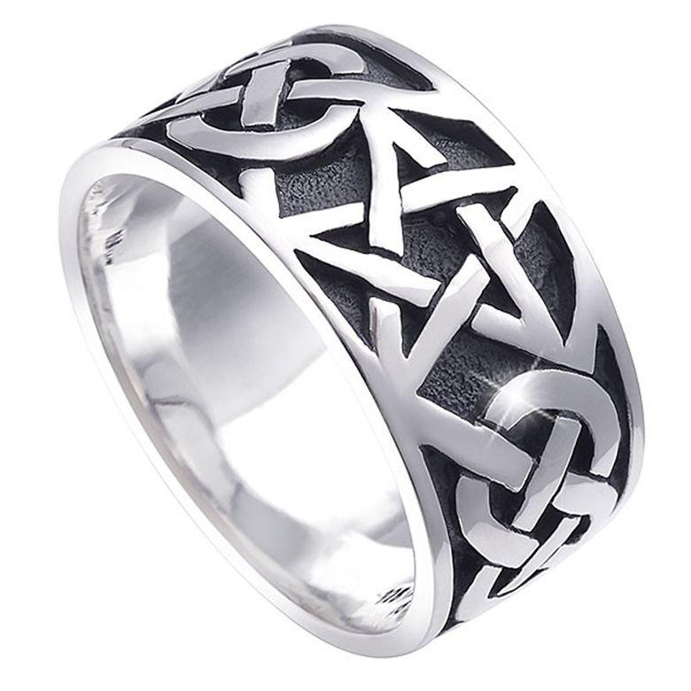 MATERIA Damen Herren Ring Pentagramm 925 Silber antik breit 7,2g keltisch #SR-112