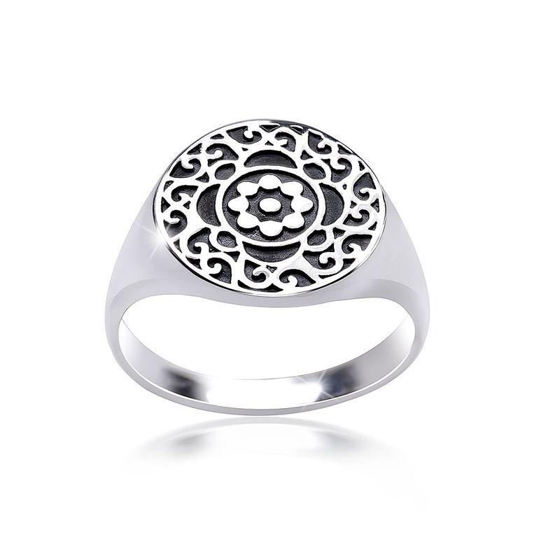 MATERIA Damen Ring Siegelring Blüte floral 925 Silber antik breit deutsche Fertigung #SR-119