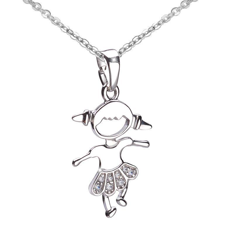 MATERIA Kinder Anhänger Mädchen mit Rock 925 Silber Zirkonia rhodiniert inkl. Schmuckbox #KA-400