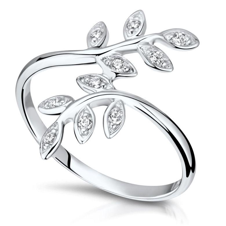 MATERIA Damen Ring Lorbeer Blätter 925 Silber Zirkonia rhodiniert offen 16-20mm #SR-125