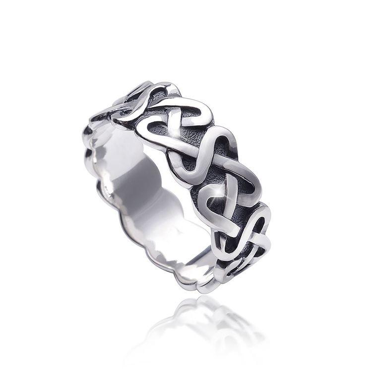 MATERIA Damen Ring Knoten keltisch 925 Sterling Silber antik deutsche Fertigung #SR-126