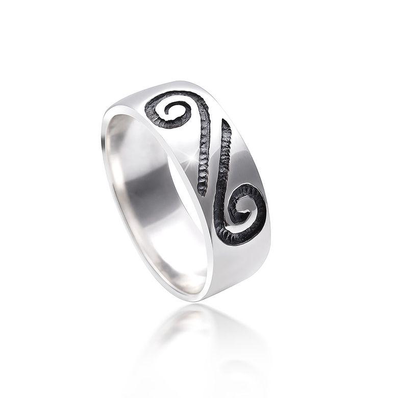 MATERIA Herren Damen Ring Schnecke 925 Silber antik und rhodiniert bicolor / deutsche Fertigung #SR-128