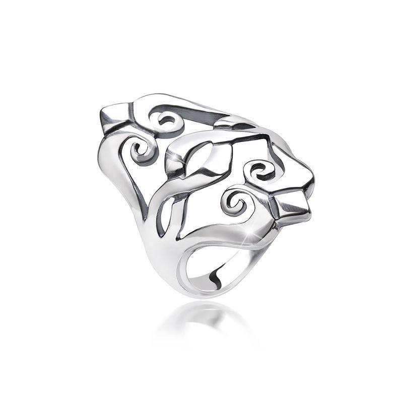 MATERIA Damen Ring Fleur de Lis Schwertlilie 925 Sterling Silber antik breit deutsche Fertigung #SR-130