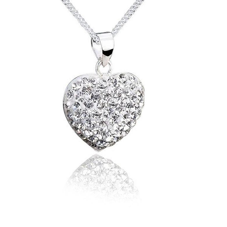 MATERIA Damen Anhänger Herz 925 Sterling Silber und Kristall weiß für Halskette #KA-79