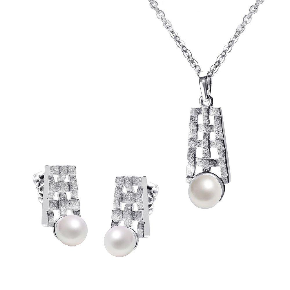 MATERIA Kette mit Perlen Anhänger Geflecht und Silber Ohrstecker