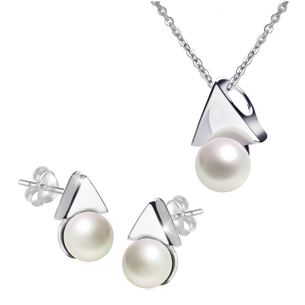 MATERIA Kette mit Perlen Anhänger Pfeil und Ohrstecker 925 Silber