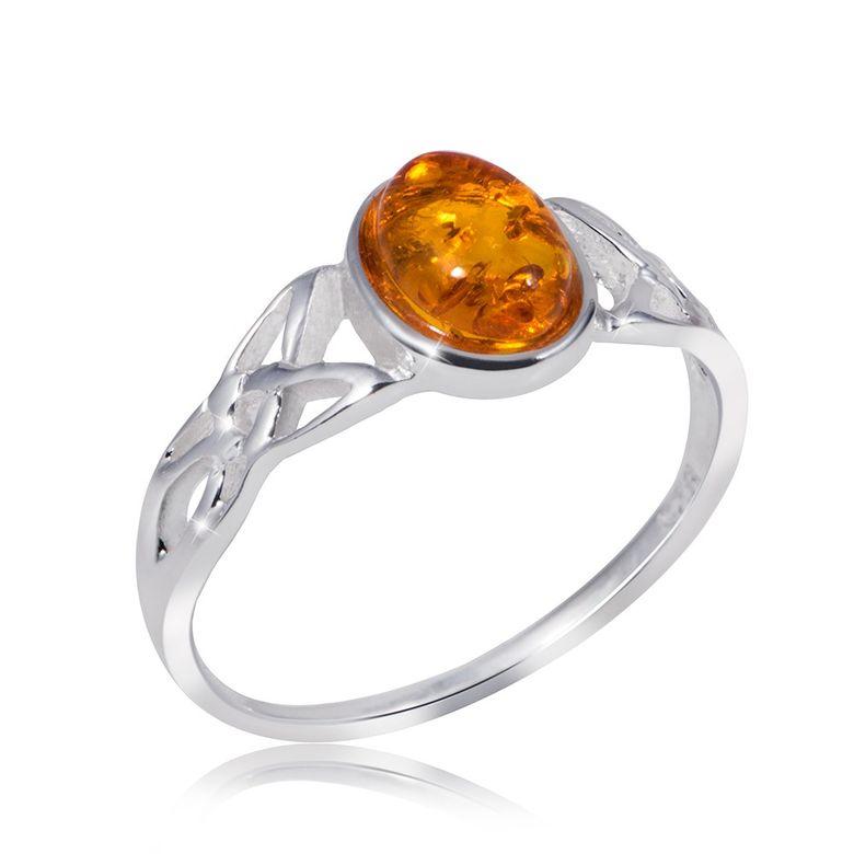 MATERIA Damen Ring Bernstein keltisch 925 Sterling Silber Schmuck Edelstein orange Gr. 16 17 18 19 20 mm SR-80