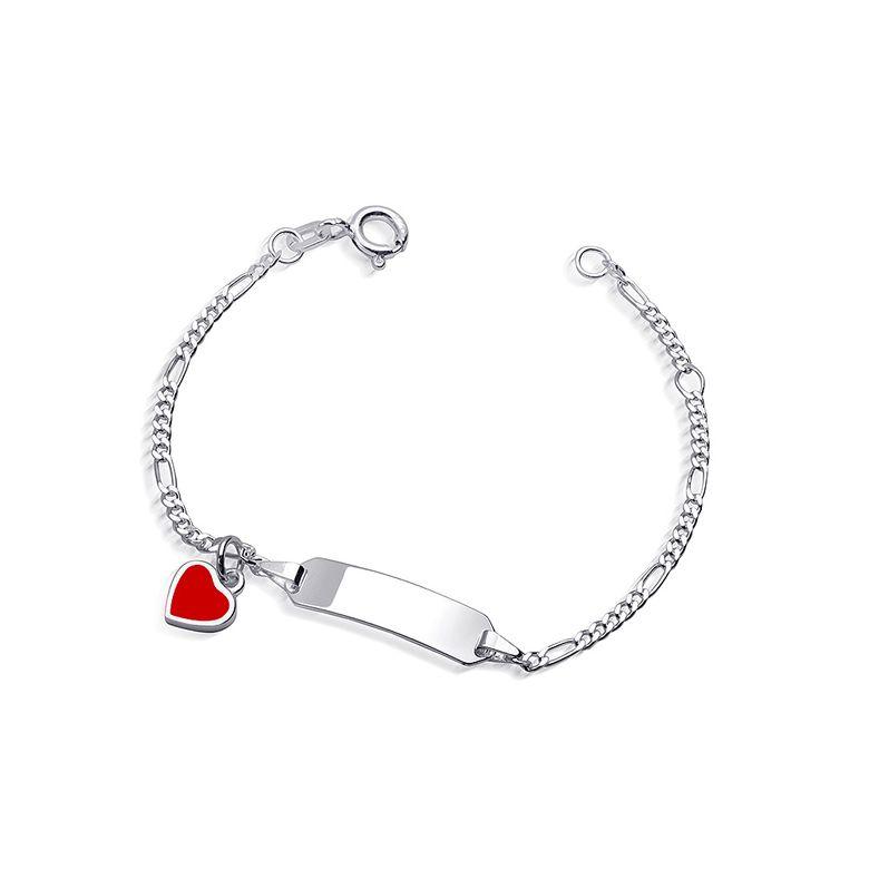 MATERIA Kinder Armband Herz mit Gravur 925 Silber Emaille rhodiniert 12-14cm verstellbar #SA-59