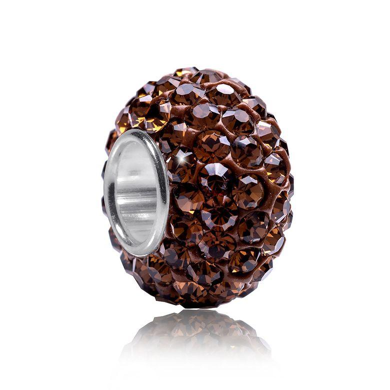 MATERIA Kristall Bead mit 925 Silber Hülse braun - Strass Anhänger für Beads Armband #1687