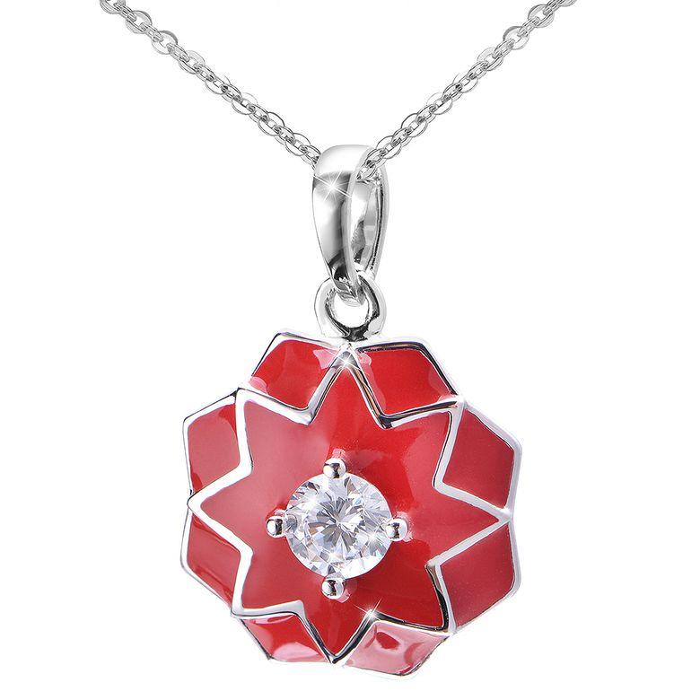 MATERIA Damen Anhänger orientalisch Blume 925 Silber Zirkonia rote Emaille rhodiniert #KA-403