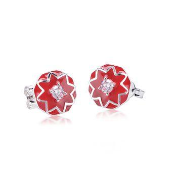 MATERIA Damen Ohrstecker Blume orientalisch 925 Silber mit Zirkonia rote Emaille rhodiniert #SO-333