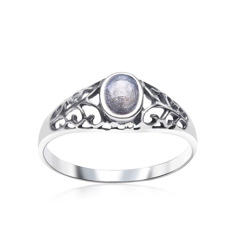 MATERIA Damen Ring Emaille 925 Sterling Silber grau floral rhodiniert mit Glitzern #SR-134
