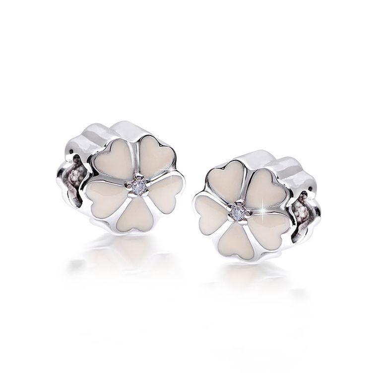 MATERIA Beads Anhänger Kirschblüte 925 Silber weiße Emaille Zirkonia rhodiniert / deutsche Fertigung #1688