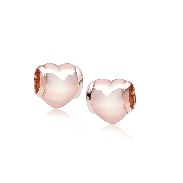 MATERIA Beads Anhänger Herz Liebe Rosegold 925 Silber voluminös hochglanzpoliert inkl. Box #1689_B4