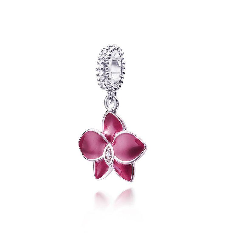 MATERIA Dangle Beads Anhänger Orchidee 925 Silber Zirkonia lila emailliert rhodiniert mit Box #1694