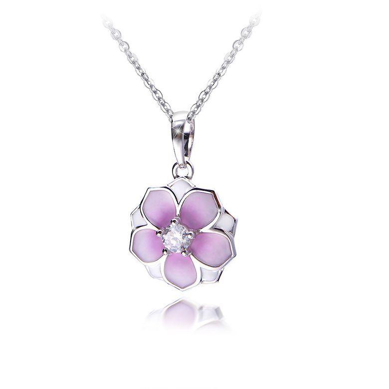 MATERIA Damen Anhänger Magnolie 925 Silber mit Zirkonia rosa weiß emailliert rhodiniert #KA-406