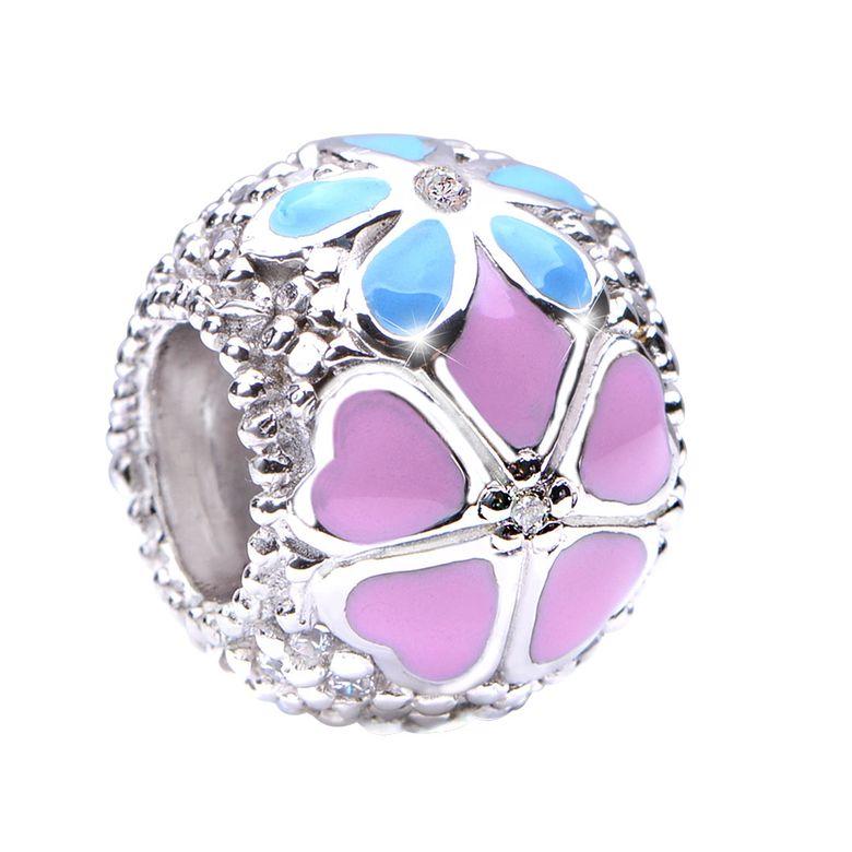 MATERIA Beads Anhänger Wiesenblumen 925 Silber Zirkonia Emaille rosa blau rhodiniert mit Box #1696