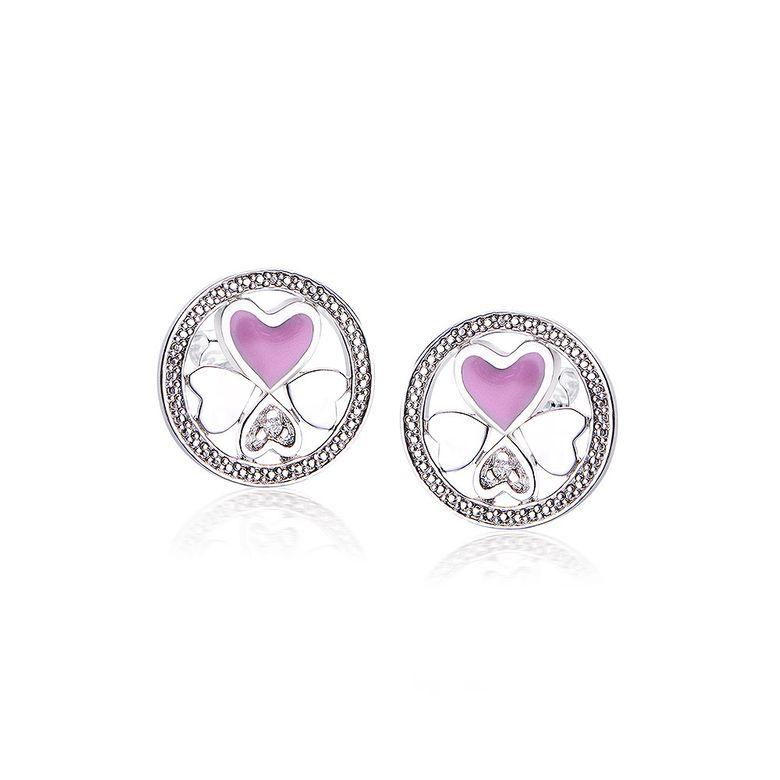 MATERIA Damen Ohrstecker Herzen 925 Silber Emaille pink mit Zirkonia rhodiniert rund #SO-336