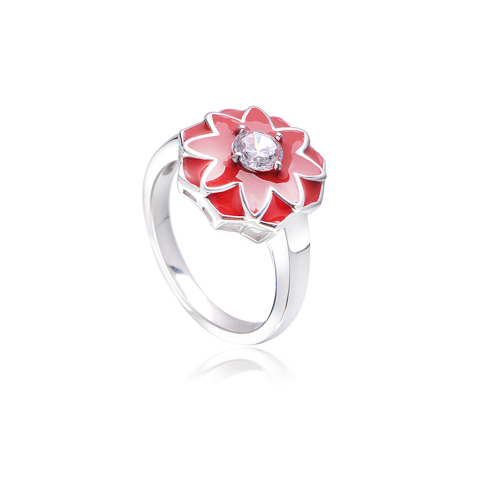 MATERIA Ring Blume orientalisch 925 Silber Zirkonia Emaille rot
