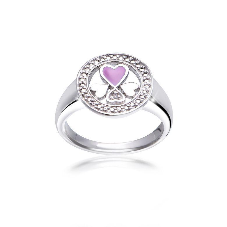 MATERIA Damen Ring Herzen 925 Silber Emaille pink Zirkonia rhodiniert rund #SR-138