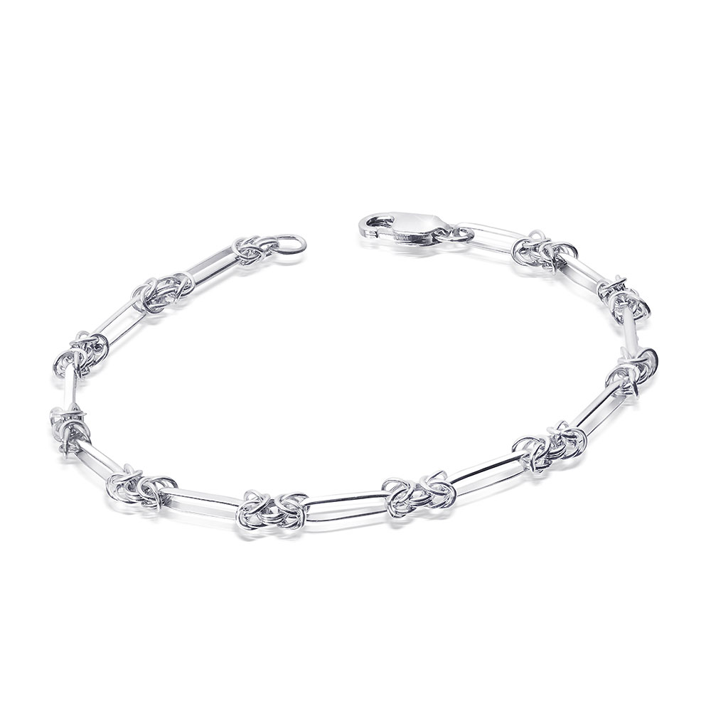 MATERIA Damen Armband Königskette Silber 925 rhodiniert