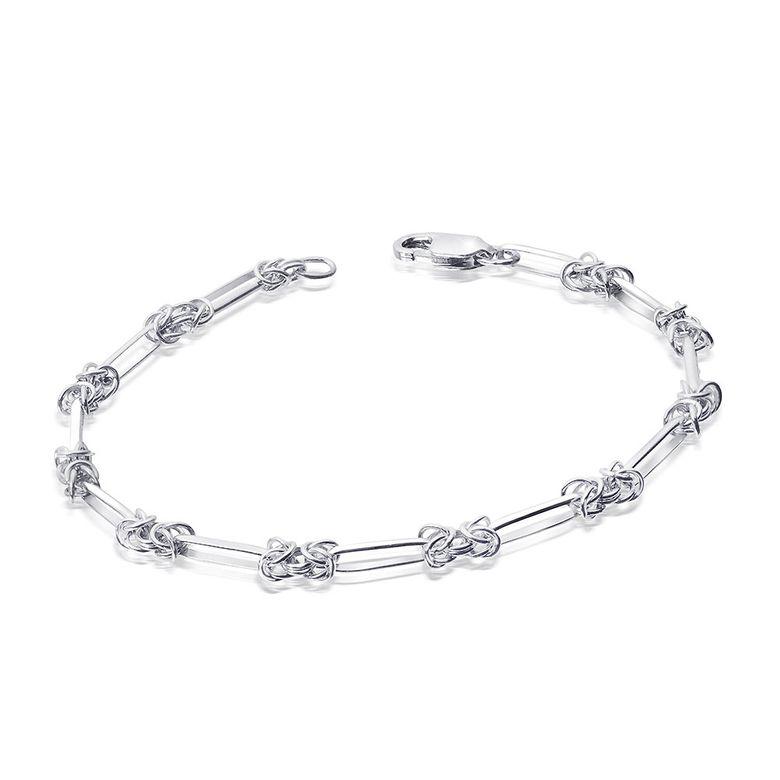 MATERIA Königsketten Armband Frauen Silber 925 - Damen Armkette breit mit Geschenk-Box 17-23cm #SA-65