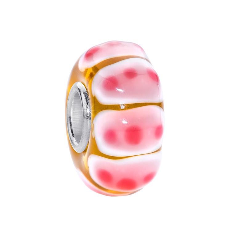 MATERIA 3D Murano Glas Beads Anhänger getupft 925 Sterling Silber rosa für Beads Armband #527