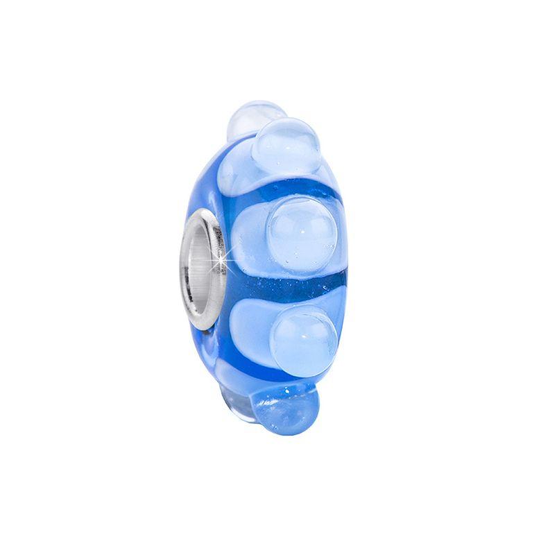 MATERIA 3D Murano Glas Beads Perle 925 Sterling Silber Hülse blau hellblau für Beads Armband #446