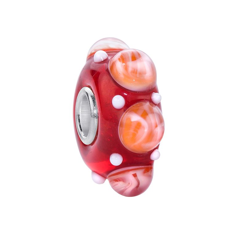 MATERIA 3D Murano Glas Beads Perle 925 Sterling Silber rot orange für Beads Armband #433
