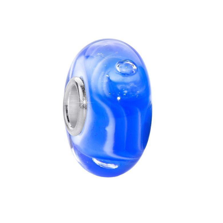 MATERIA Murano Glas Beads Anhänger Wellen 925 Silber blau für Beads Armband #350