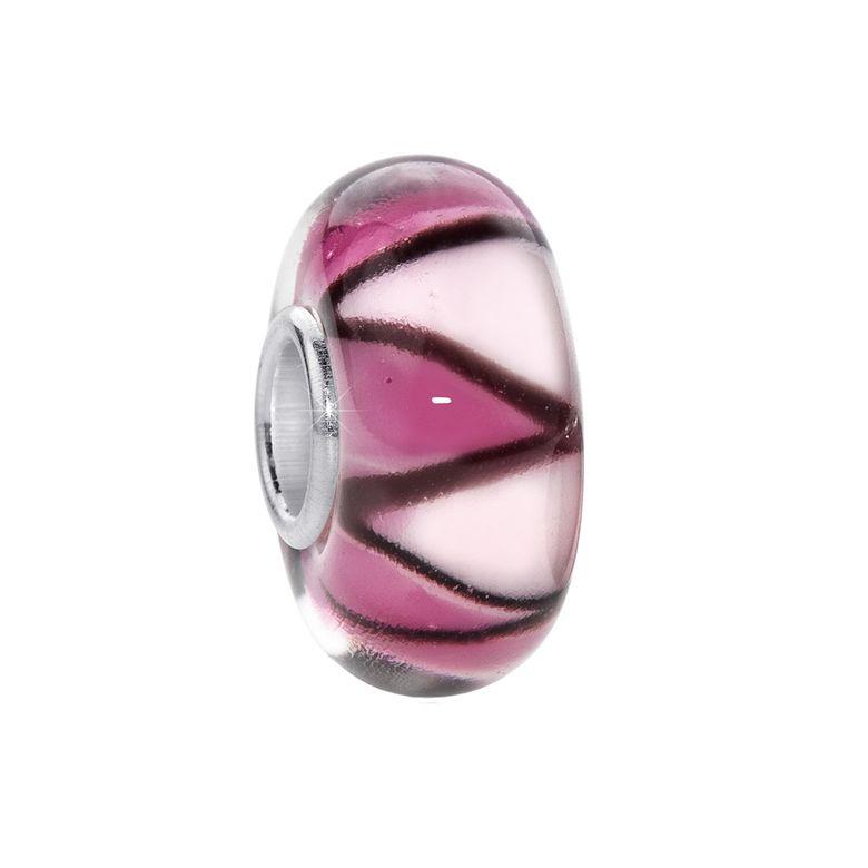 MATERIA Murano Glas Beads Anhänger Zickzack 925 Silber rosa für Beads Armband #355