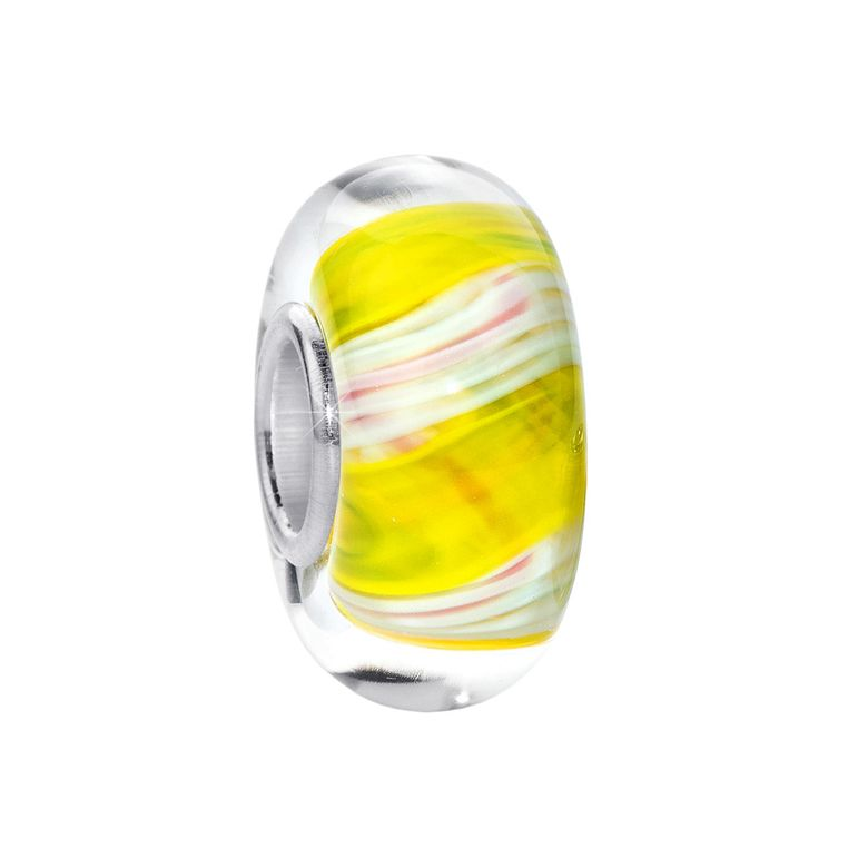 MATERIA Murano Glas Beads Anhänger Seide 925 Silber gelb creme für Beads Armband #360