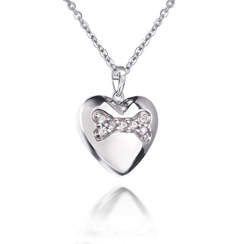 MATERIA 45cm Kette mit Anhänger Herz Hundeknochen 925 Silber Zirkonia rhodiniert #KA-414