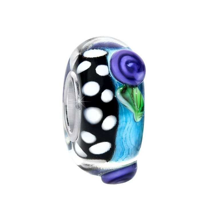 MATERIA 3D Murano Glas Beads Anhänger Blume Blatt 925 Silber blau lila für Beads Armband #297