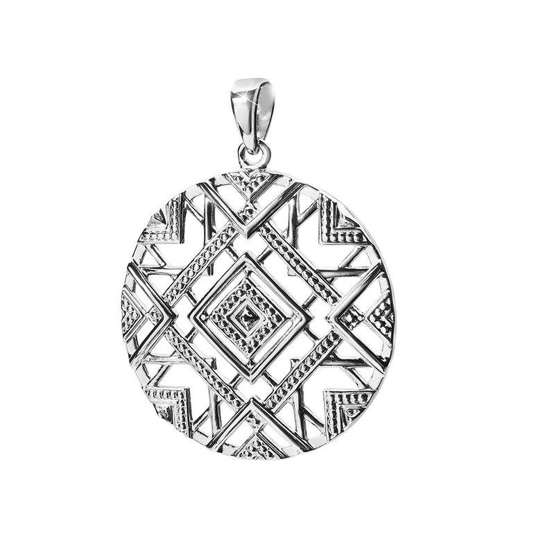 MATERIA Großer Kettenanhänger Silber 925 für Damen - Anhänger afrikanisch rund mit Halskette rhodiniert in Etui KA-419