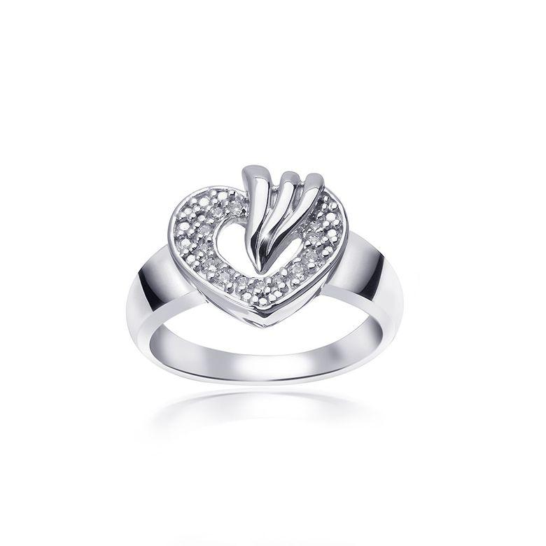 MATERIA Damen Ring Herz Liebe 925 Sterling Silber Silberring Zirkonia weiß rhodiniert #SR-142