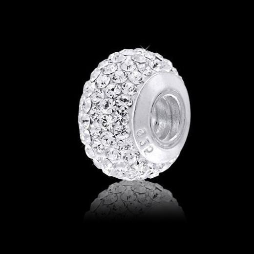 MATERIA Kristall Beads Kugel weiß Snow - Strass Anhänger mit Gewinde für Beads Armband #1073