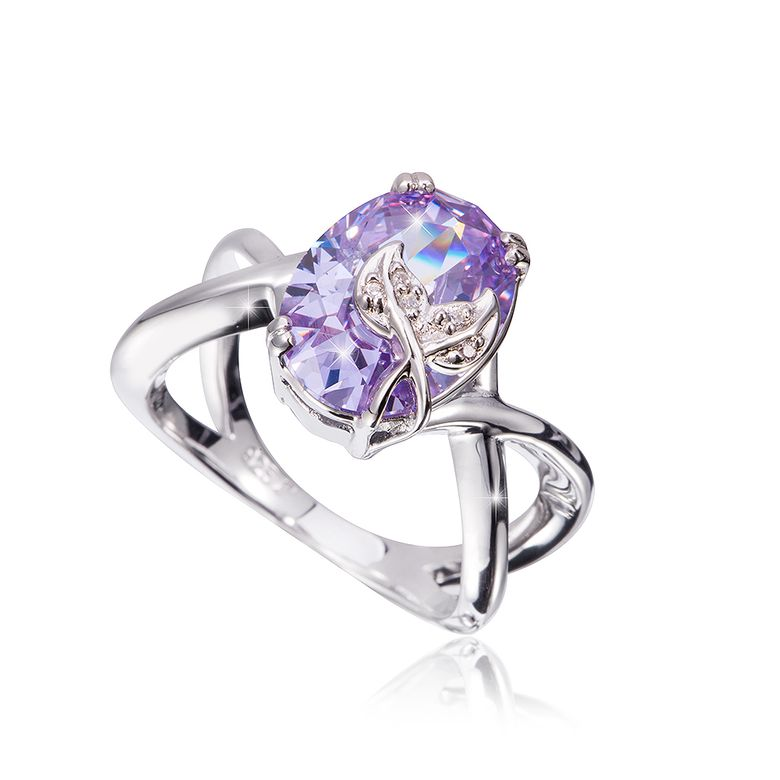 1837a1a0005d MATERIA Cocktailring Damen Ring 925 Sterling Silber Zirkonia lila oval  rhodiniert in Ringbox  SR-