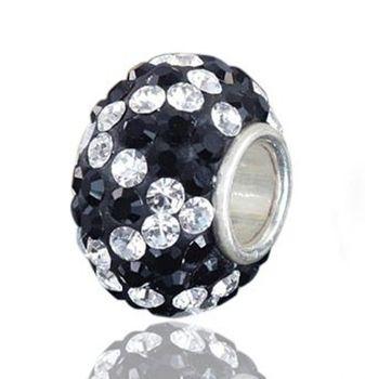 MATERIA 925 Silber Beads Strass schwarz weiß Charms Element - Kristall Beads Kugel weiß gezackt #312
