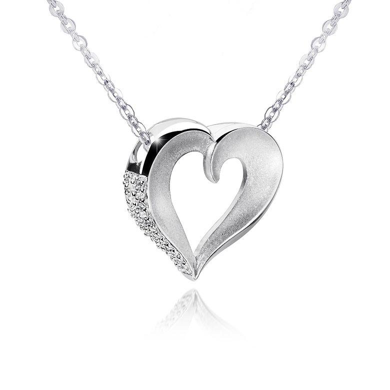 MATERIA 45cm Kette mit Anhänger Herz Zirkonia 925 Silber matt rhodiniert in Schmuckbox #426-30_B4