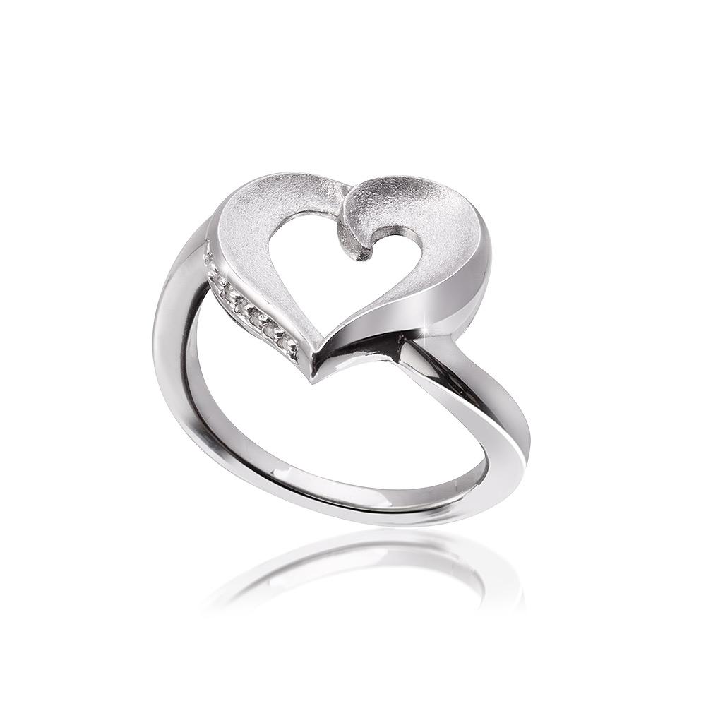 MATERIA Damen Ring Herz Zirkonia 925 Silber matt rhodiniert
